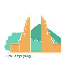 Pura lempuyang temple on background of vector