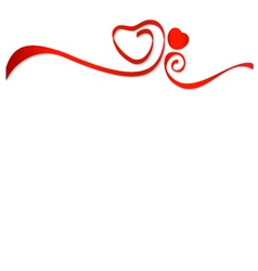 Red ribbons with red heart vector image