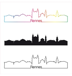 Rennes skyline linear style with rainbow vector image