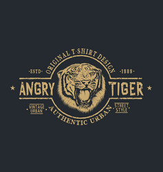 retro label with angry tiger vector image
