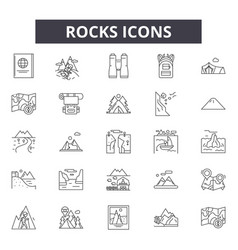 Rocks line icons signs set linear vector