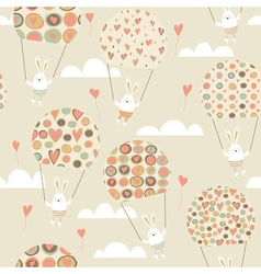 Romantic seamless pattern with cute rabbits vector image