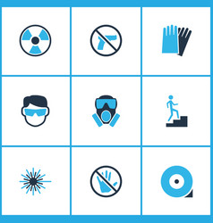 Safety icons colored set with laser beam vector