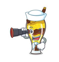 Sailor with binocular mangonada fruit mascot vector