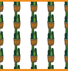 seamless pattern with cactus seamless vector image
