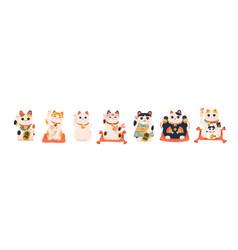 Set different japanese lucky cat maneki neko vector