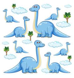 Set isolated brachiosaurus dinosaurs cartoon vector