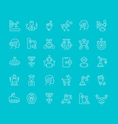set line icons robots vector image