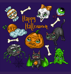 Set of halloween element patches vector