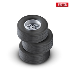 Set Tires and wheels of car Top view vector image