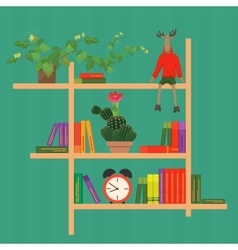 Shelves with colorful books clock cactus and toy vector