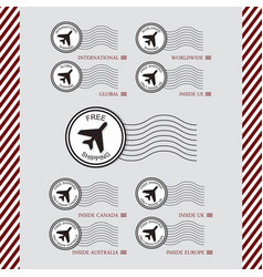 Shipping and air transport service stamps set vector