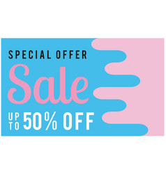 special offer sale up to 50 off blue pink backgro vector image