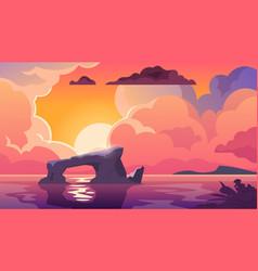 sunset ocean cartoon landscape in evening vector image