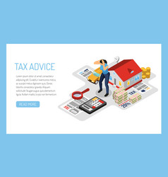 Taxes isometric concept composition vector