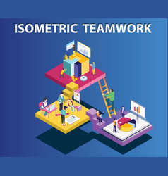 team working to run company isometric artwork vector image