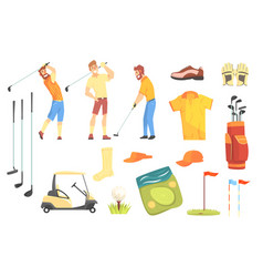 Three golfers playing golf surrounded by sport vector