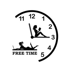 time to relax on clock and rest vector image