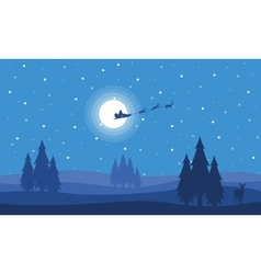 Train deer on the sky with santa vector image