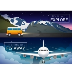 Travel banners set passenger airplane vector