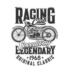 Tshirt print off road retro bike for racing club vector