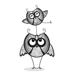 Two funny owls vector image