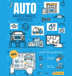 Vehicles repair and online maintenance service vector