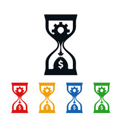Wheel and dollar sign in hourglass vector
