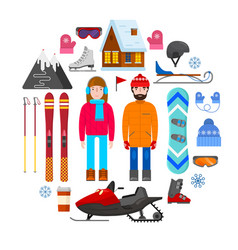 winter equipment on white background vector image