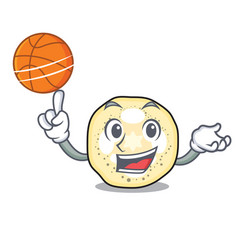 with basketball eggplant slices in the cartoon vector image