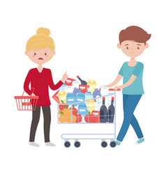 Woman and man shopping with cart basket and vector