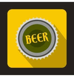 Beer bottle cap icon in flat style vector image