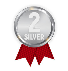 champion silver medal with red ribbon icon sign vector image vector image