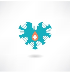 Donor hands holding a heart with a drop icon vector image vector image