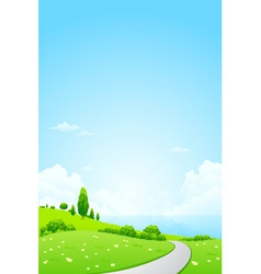 Green Landscape with Flowers Road vector image vector image