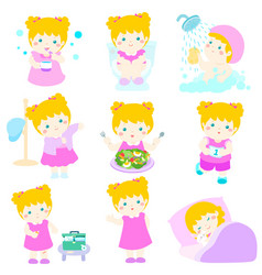 healthy hygiene for girl cartoon vector image vector image