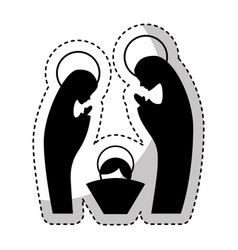 manger family figure silhouette icon vector image