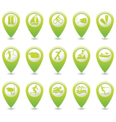 Set of 15 sport GREEN map pointer vector image vector image