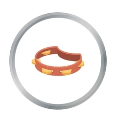Tambourine icon in cartoon style isolated on white vector image