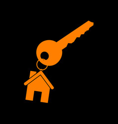 key with keychain as an house sign orange icon on vector image