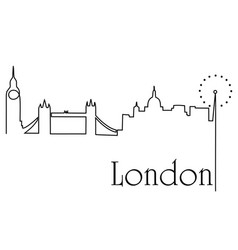 london city one line drawing background vector image