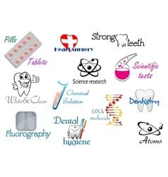 Medicine and science symbols vector image vector image