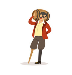 pirate sailor character with wooden leg holding vector image vector image