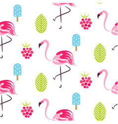 summer pattern with flamingo ice cream and vector image vector image