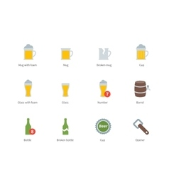 Beer and beverages color icons on white background vector image