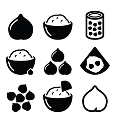 Hummus or houmous chickpeas icons set vector image