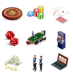 Isometric casino icons set laptop with roulette vector