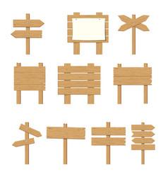 wooden signboards wood arrow sign set vector image vector image