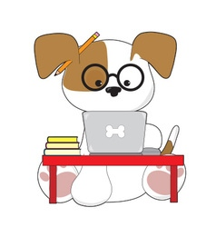 Cute Puppy and Laptop vector image vector image