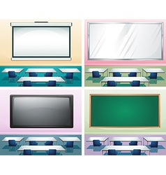 Four scenes of classrooms vector image vector image